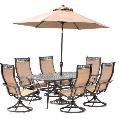 Manor 7-Piece Aluminum Rectangular Outdoor Dining Set with Swivels, Cast-Top Table, Umbrella and Base