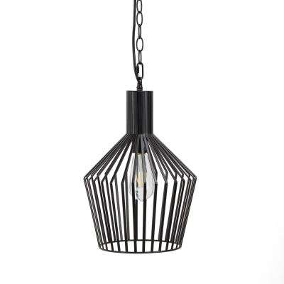 Clive 6-Watt Black Metal Wire Frame Integrated LED Pendant