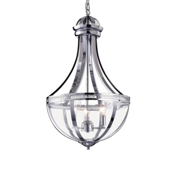 Ariadna 19 in. 3-Light Indoor Chrome Pendant Lamp with Light Kit