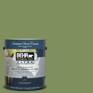 BEHR Premium Plus Ultra 1-Gal. #UL210-17 Green Energy Interior Satin Enamel  Paint-775301 - The Home Depot