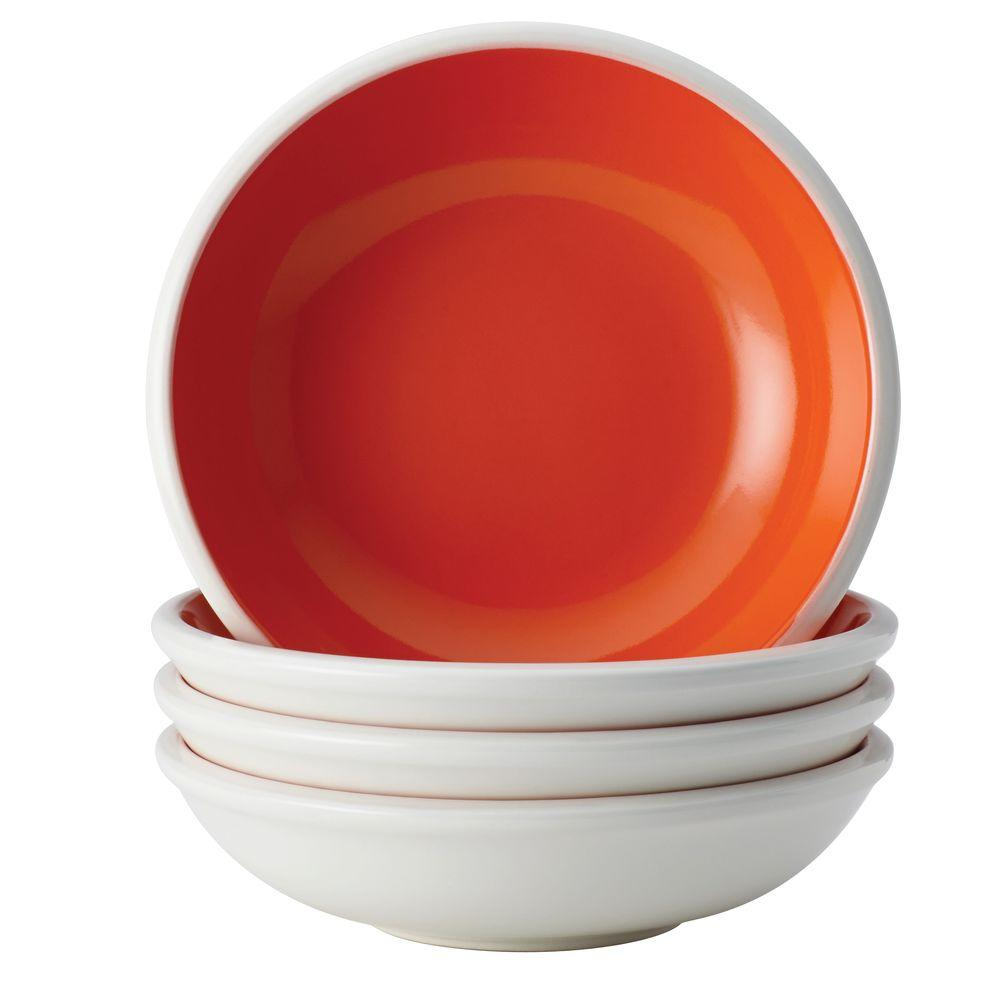 Rachael Ray Dinnerware Rise 4-Piece Stoneware Fruit Bowl Set in Orange
