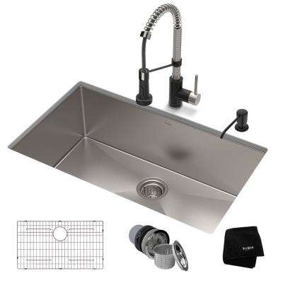 All-in-One Undermount Stainless Steel 32 in. Single Bowl Kitchen Sink with Faucet in Stainless Steel Matte Black