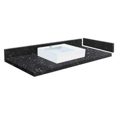 58.5 in. W x 22.25 in. D Quartz Vessel Vanity Top in Interlude with Single Hole with White Basin