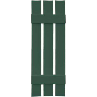 12 in. x 39 in. Board-N-Batten Shutters Pair, 3 Boards Spaced #028 Forest Green