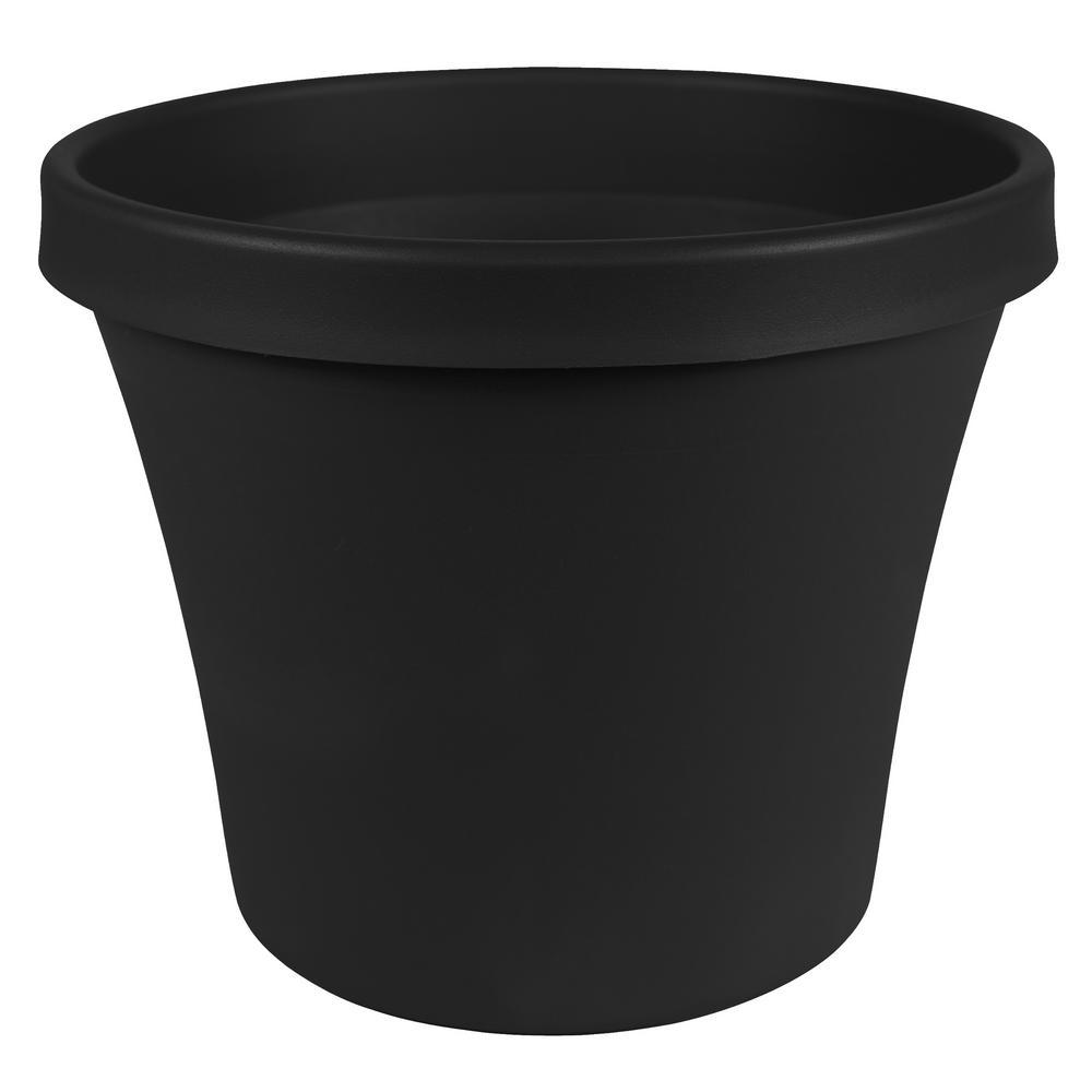 Bloem Terra 10 in. x 8.5 in. Black Plastic Planter