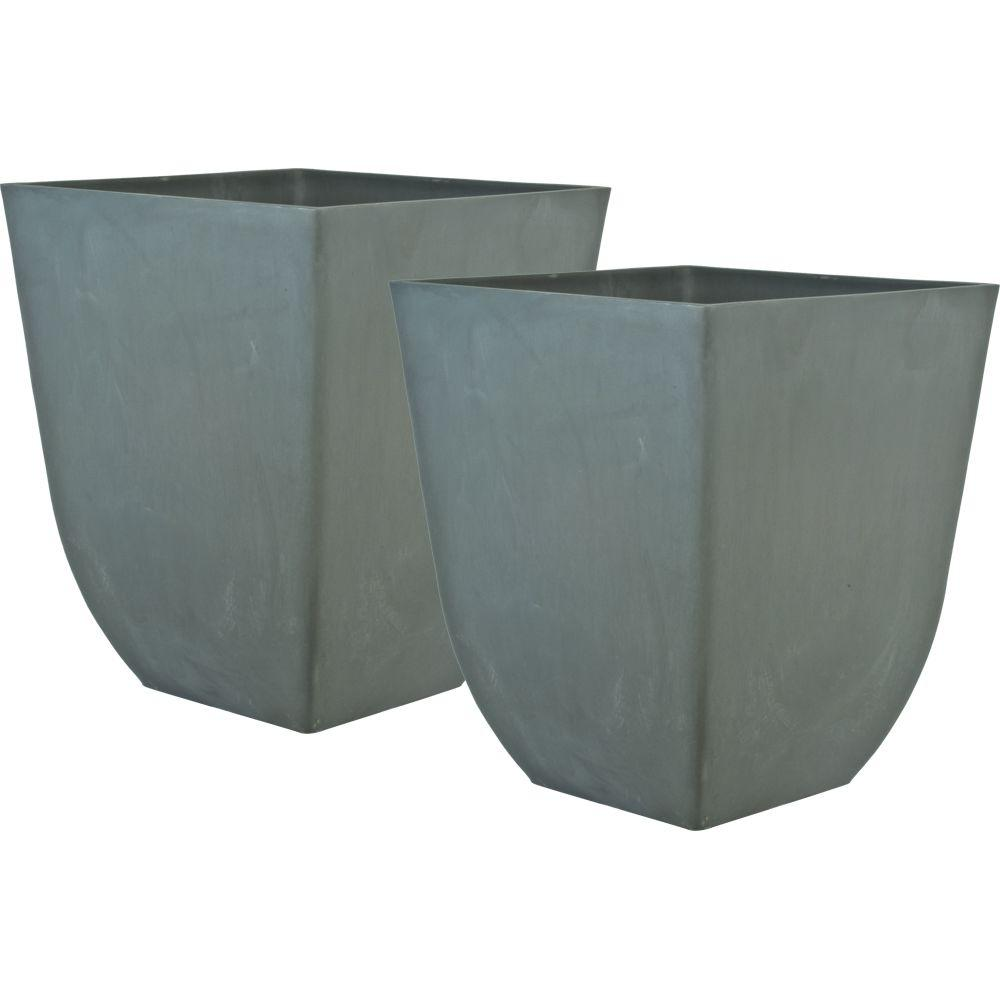 Pride Garden Products Cubo 15 in. Square Light Gray Plastic Planter (2-Pack)