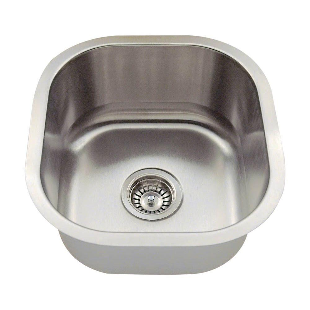 Polaris Sinks Undermount Stainless Steel 16 In. Single Bowl Bar Sink