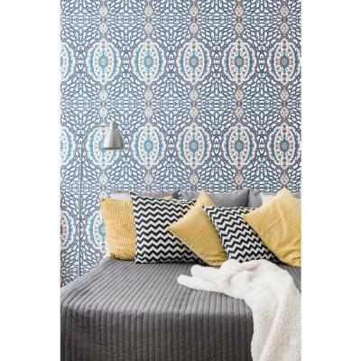Nomad Collection Ottoman Jewel in Blues and Coral Removable and Repositionable Wallpaper