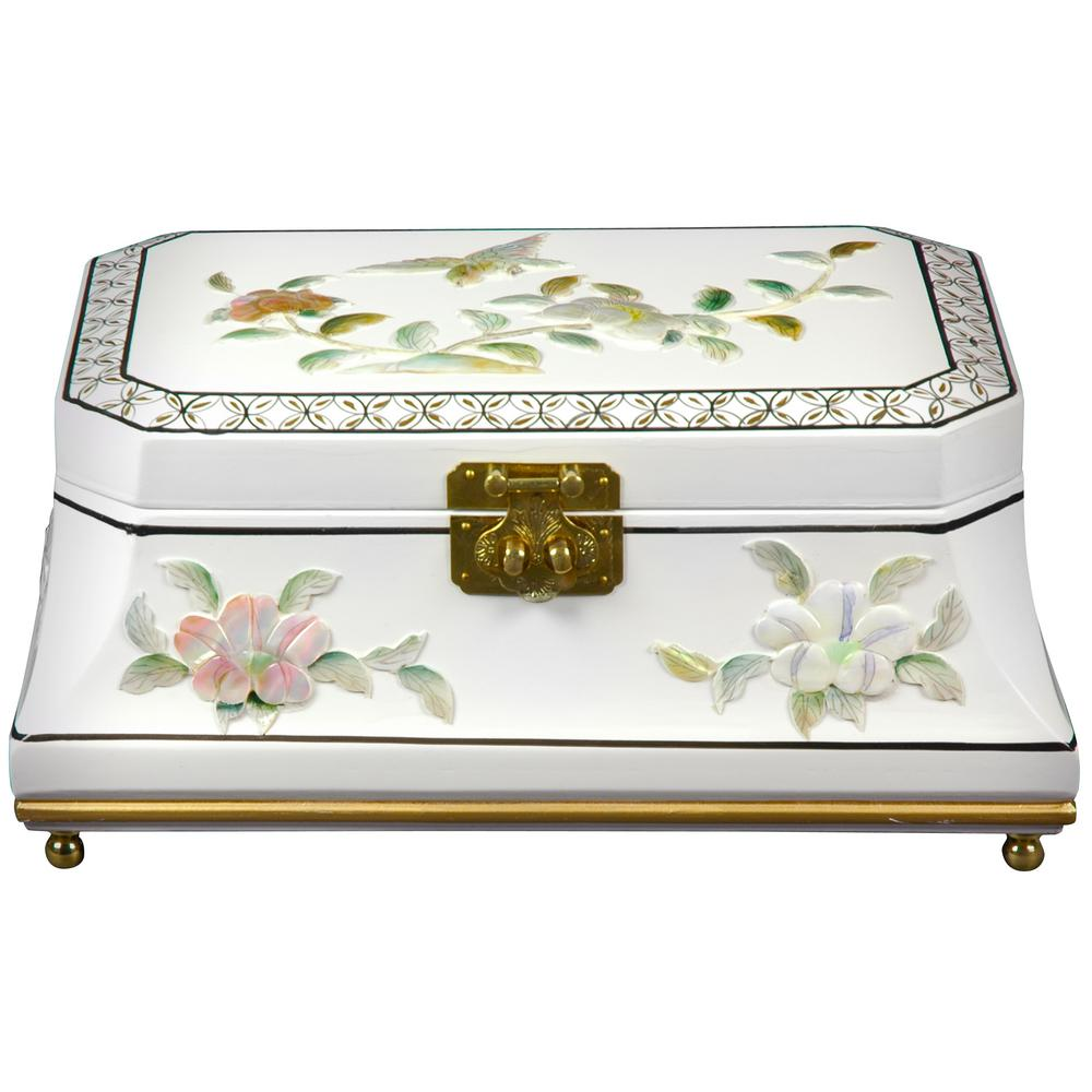 Oriental Furniture Adorlee Lacquer Jewelry Box in White