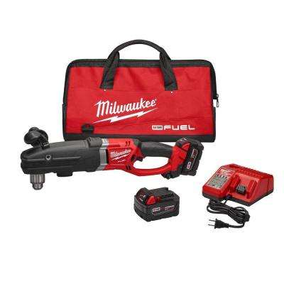 M18 FUEL 18-Volt Lithium-Ion Brushless Cordless Super Hawg 1/2 in. Right Angle Drill Kit W/(2) 5.0Ah Batteries, Tool Bag