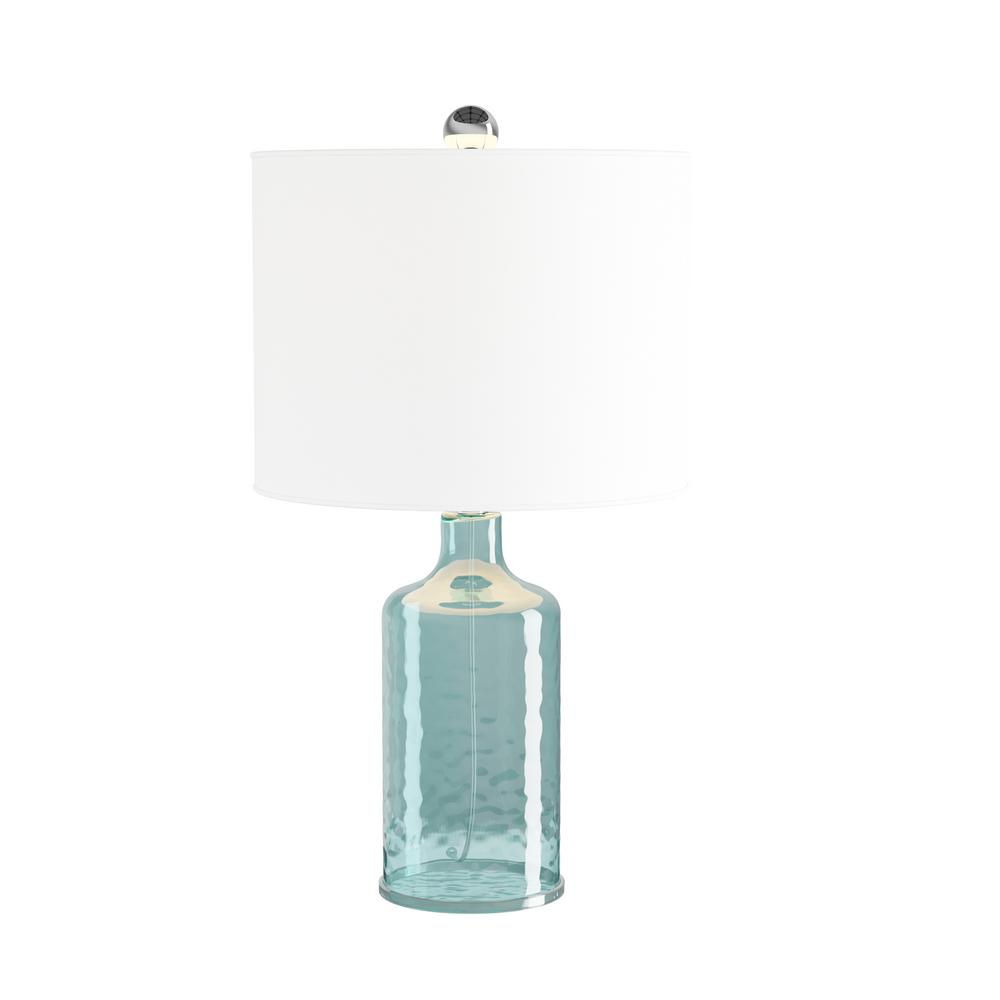 Lavish Home 20 In Clear Blue Open Base Table Lamp