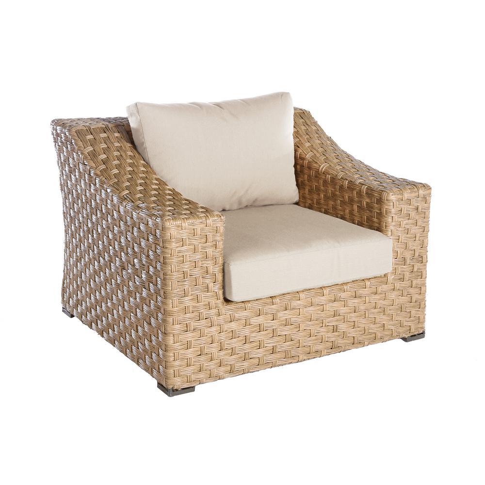Elizabeth 1-Piece Wicker Patio Seating Set with Cast-Ash Cushions