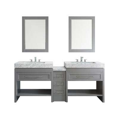 Bolzana 84 in. W x 23 in. D x 36 in. H Vanity in Grey with Marble Vanity Top in Carrara White and Mirror