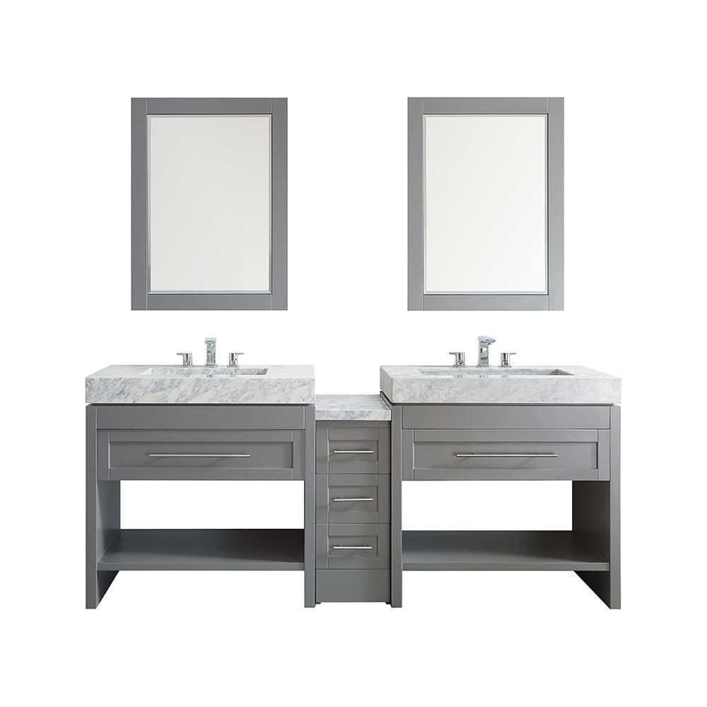 84 inch double sink vanity top. vinnova bolzana 84 in. w x 23 d 36 h vanity in grey with marble top carrara white and mirror-750084-gr-ca - the home depot inch double sink t