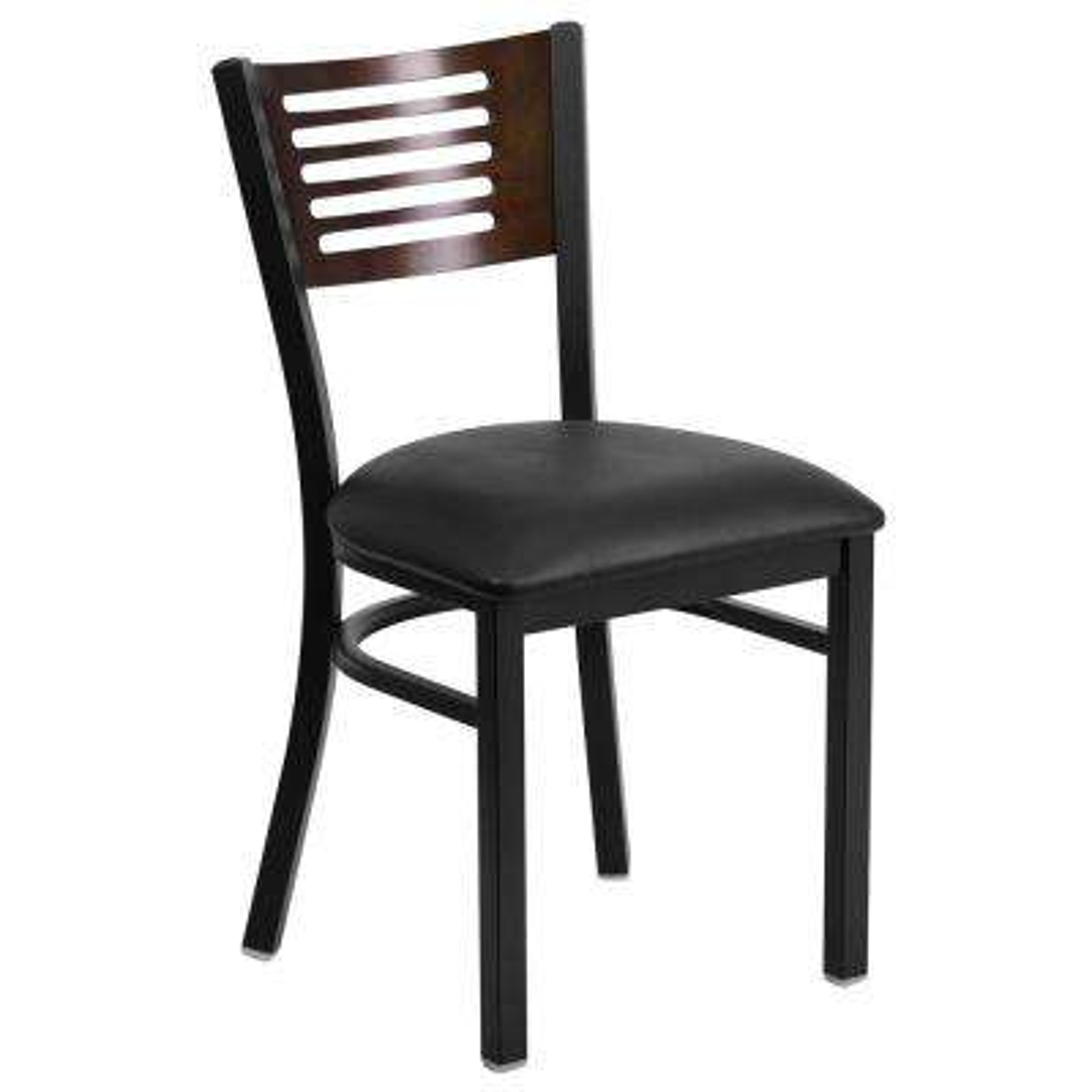 Hercules Series Black Decorative Slat Back Metal Restaurant Chair with Walnut Wood Back, Black Vinyl Seat