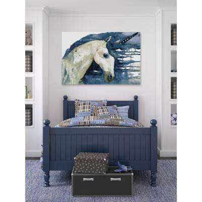 "40 in. H x 60 in. W ""Blue Unicorn"" by Marmont Hill Printed Canvas Wall Art"