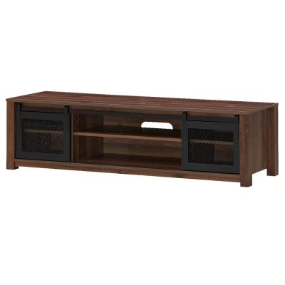 59 in. Walnut TV Stand Fits TV's up to 65 in. with Sliding Mesh Doors