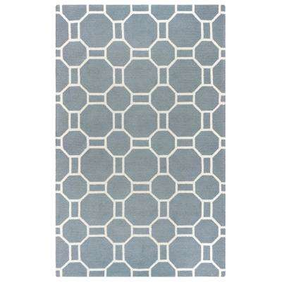 Azzura Hill Light Grey Geometric 5 ft. x 8 ft. Indoor/Outdoor Area Rug