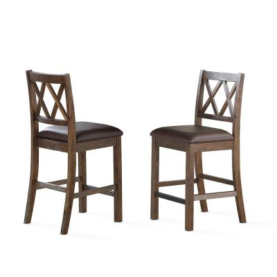 Lori 24 in. Chestnut Rustic Counter Chairs (Set of 2)