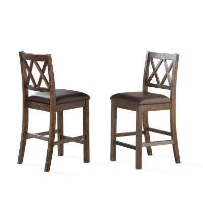 Lori Chestnut Rustic Counter Chairs (Set of 2)