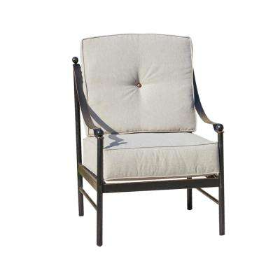 Metal Outdoor Lounge Chair with Beige Cushions