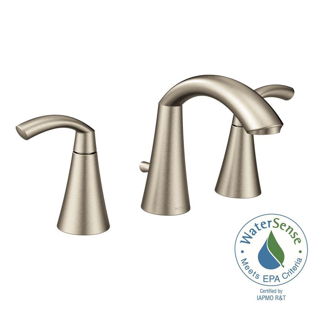 MOEN Glyde 8 in. Widespread 2-Handle High-Arc Bathroom Faucet in Brushed  Nickel-T6173BN - The Home Depot