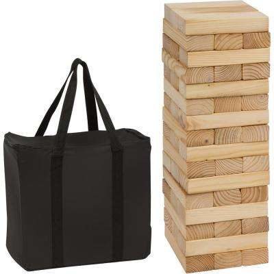 48-Piece 1.5 ft. Tall Giant Wooden Stacking Puzzle Game with Carry Case