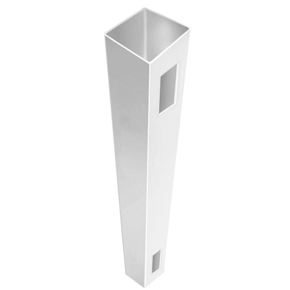 white fence post. white vinyl routed fence post r