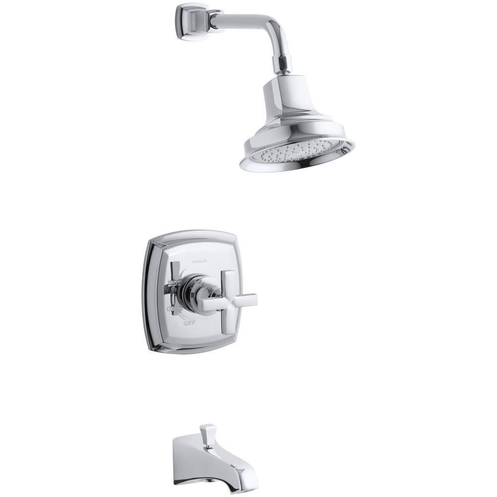 Margaux Single-Handle 1-Spray 2.5 GPM Tub and Shower Faucet with Cross