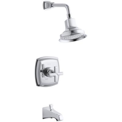 Margaux Single-Handle 1-Spray 2.5 GPM Tub and Shower Faucet with Cross Handle in Polished Chrome