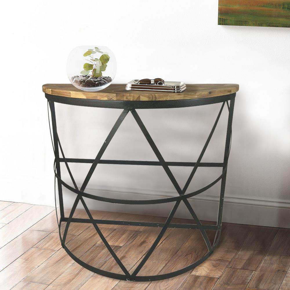 Industrial Reclaimed Wood Demilune Console Table