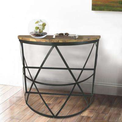 Half Circle Industrial Wood Console Tables Accent Tables
