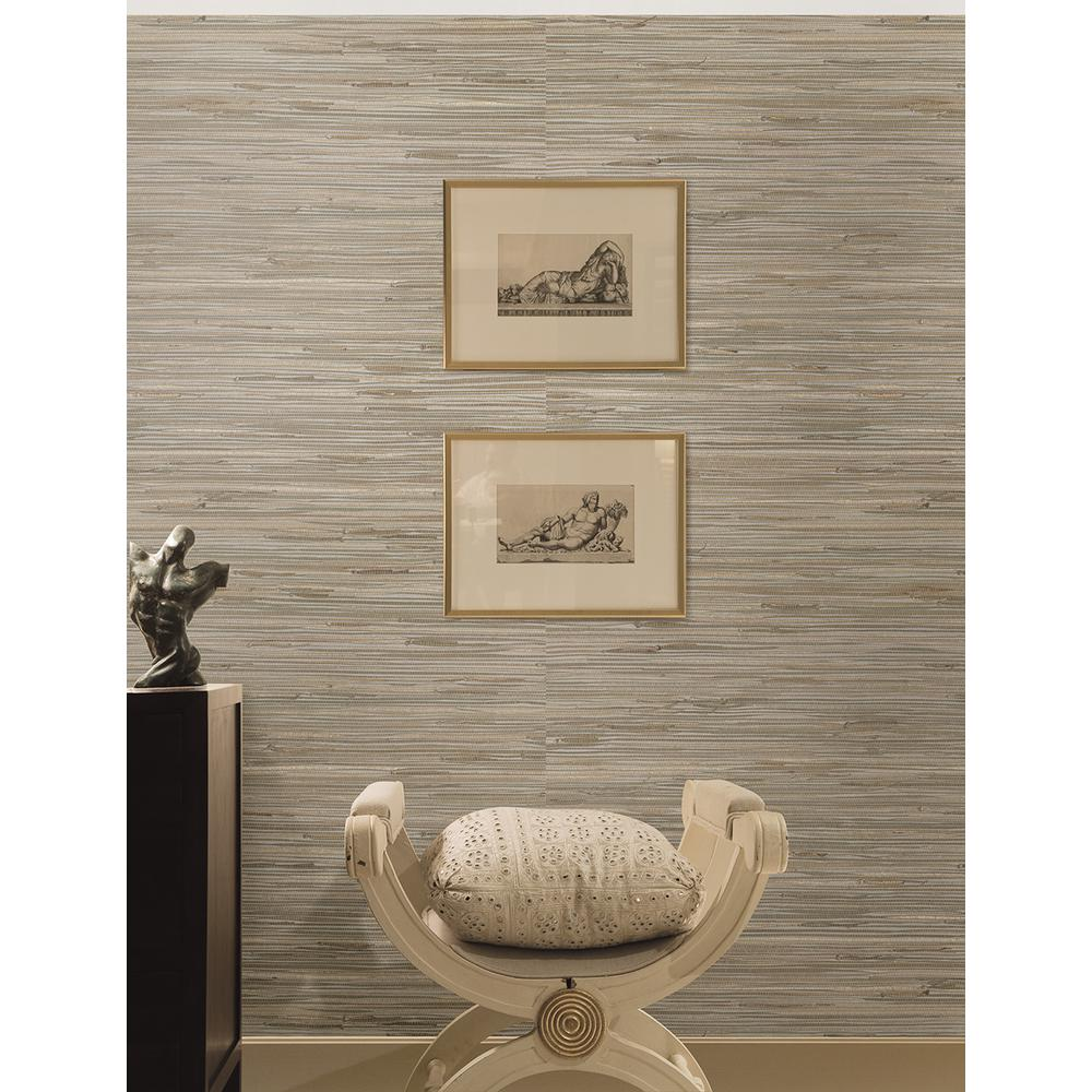 Gray Grasscloth Wallpaper: Kenneth James Heiki Light Grey Grasscloth Wallpaper Sample