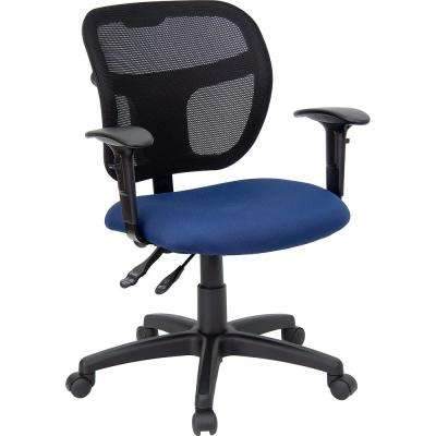 Mid Back Mesh Swivel Task Chair With Navy Blue Fabric Padded Seat And Height Adjule