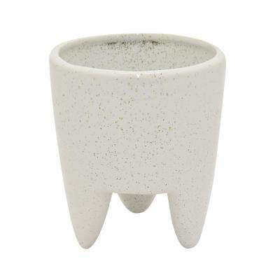 6 in. Ceramic Flower Pot in White