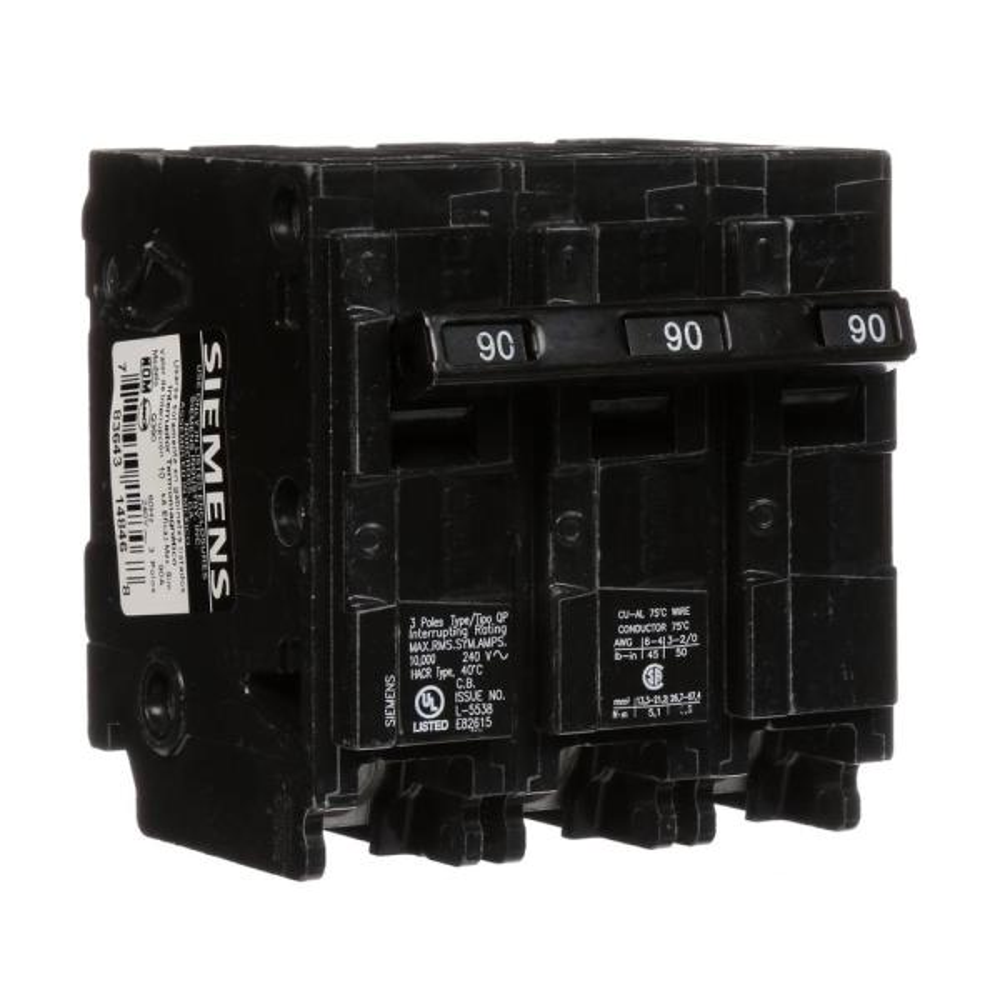 Siemens Q39000S01 240-Volt type MP-T 90-Amp Circuit Breaker with 120-Volt Shunt Trip Three pole