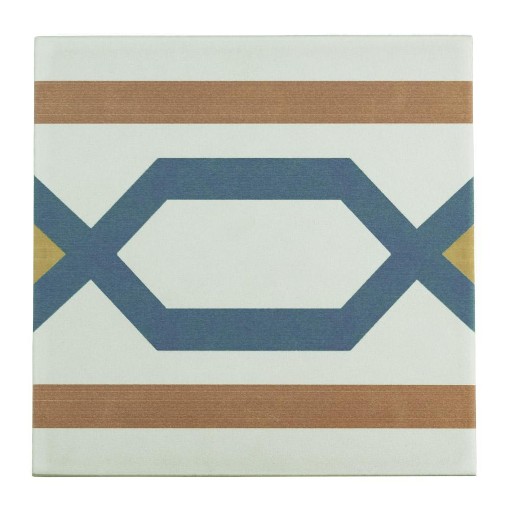Merola Tile Revival Frame Encaustic 7-3/4 in. x 7-3/4 in. Ceramic ...