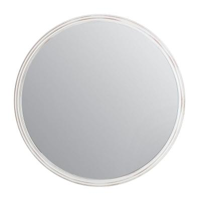 30 in. x 30 in. Farmhouse Round Carved Framed White Accent Mirror
