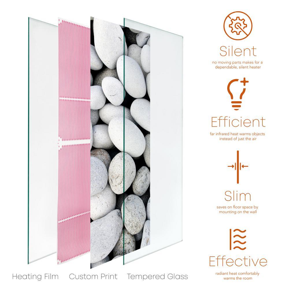 Glass Heater 500-Watt Radiant Wall Hanging Decorative Glass Heat Panel - Galets