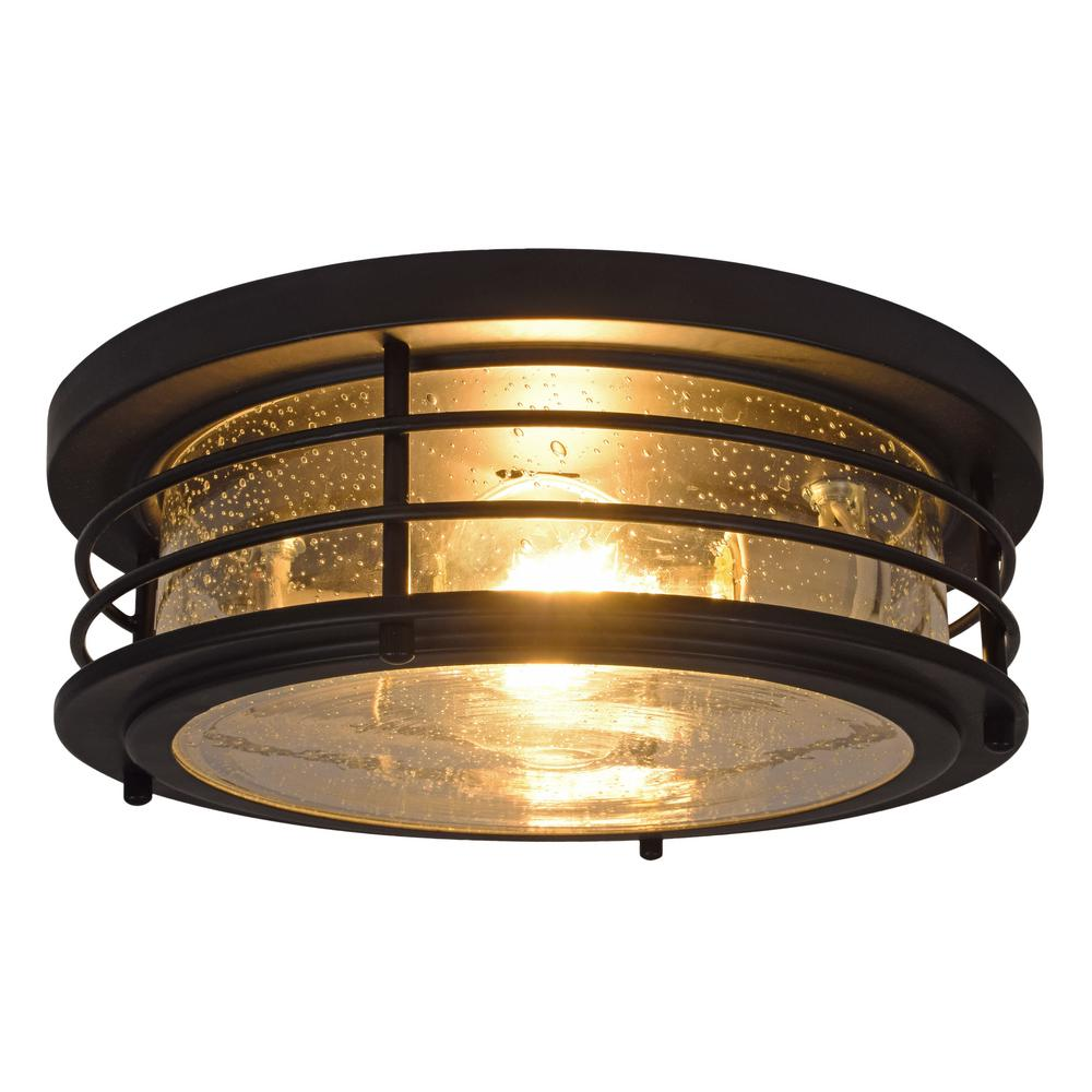 Sylvania Andover 11 In 2 Light Antique Black Drum Ceiling Flush Mount With Edison Led Bulbs