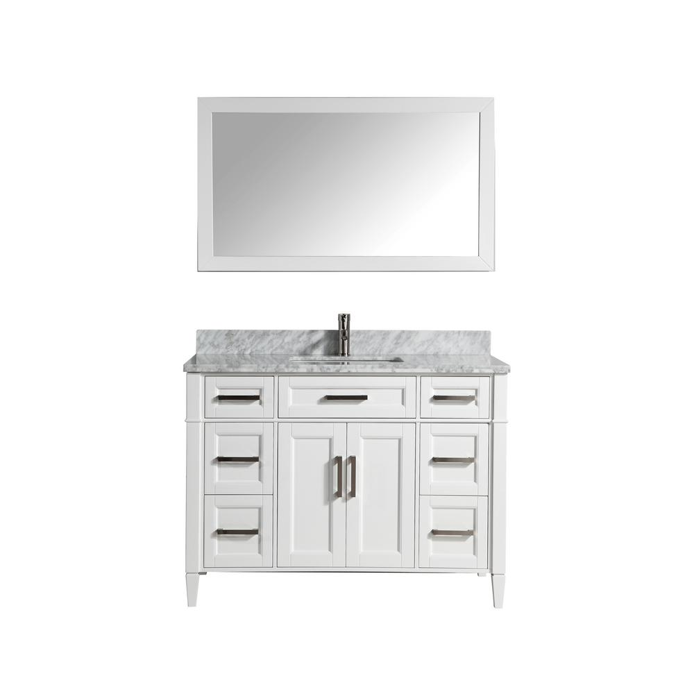 Vanity Art Savona 48 in. W x 22 in. D x 36 in. H Vanity in White with Single Basin Vanity Top in White and Grey Marble and Mirror