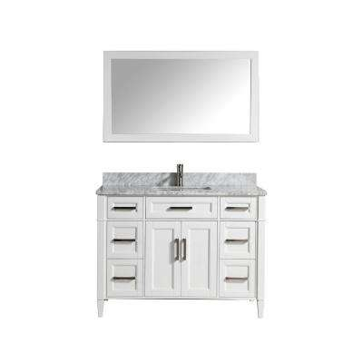 Savona 48 in. W x 22 in. D x 36 in. H Vanity in White with Single Basin Vanity Top in White and Grey Marble and Mirror