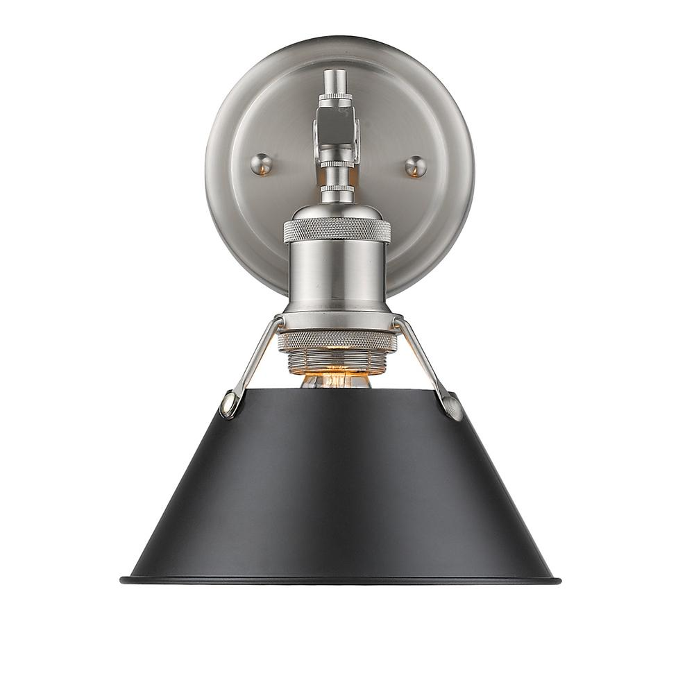 Golden Lighting Orwell PW 1-Light Pewter Bath Light with Black Shade