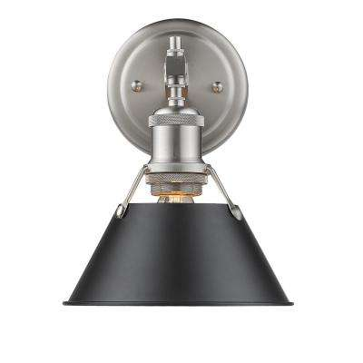 Orwell PW 1-Light Pewter Bath Light with Black Shade