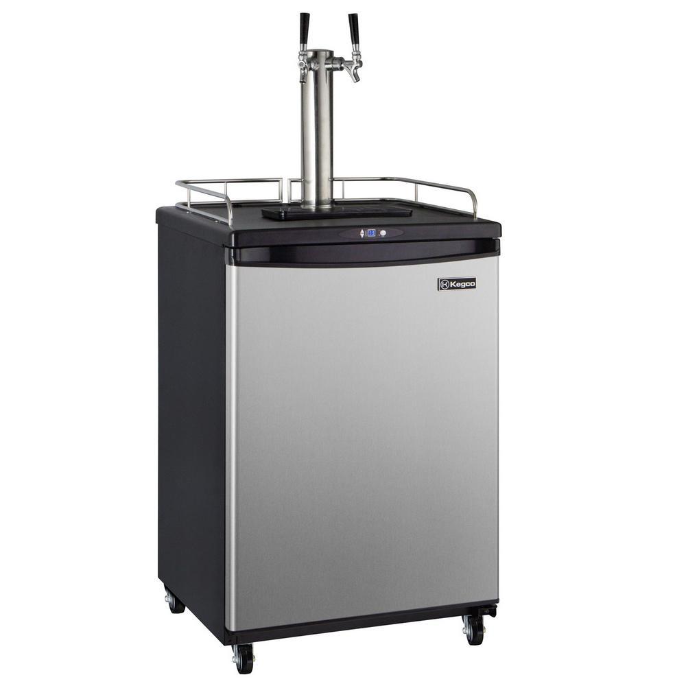 Commercial Grade Digital Double Tap Full Size Beer Keg Dispenser with Dispense Kit