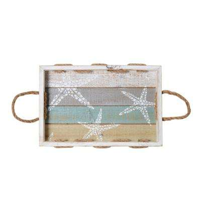 16 in. Rectangle Starfish Wood Tray