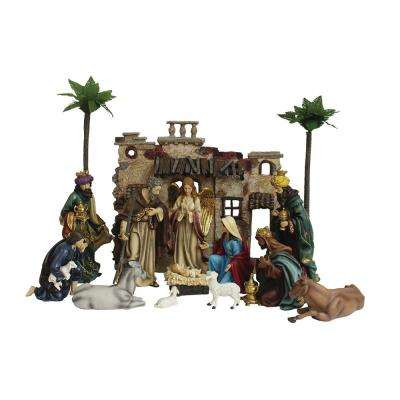20 in. Christmas Nativity Set with (15-Piece)