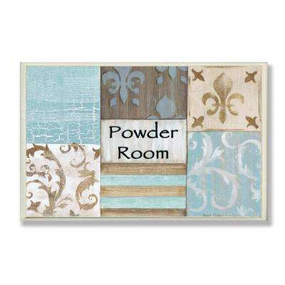 "12.5 in. x 18.5 in. ""Fleur de Lis Powder Room Blue, Brown and Beige Bathroom"" by Bonnie Wrublesky Printed Wood Wall Art"