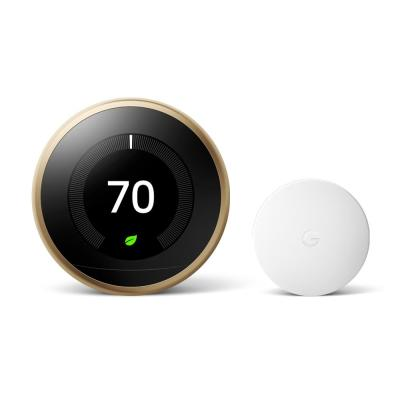Nest Learning Thermostat 3rd Gen in Brass and Google Nest Temperature Sensor