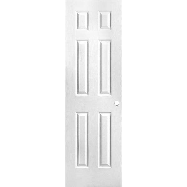 24 in. x 80 in. Primed Textured 6-Panel Hollow Core Composite Interior Door Slab with Bore
